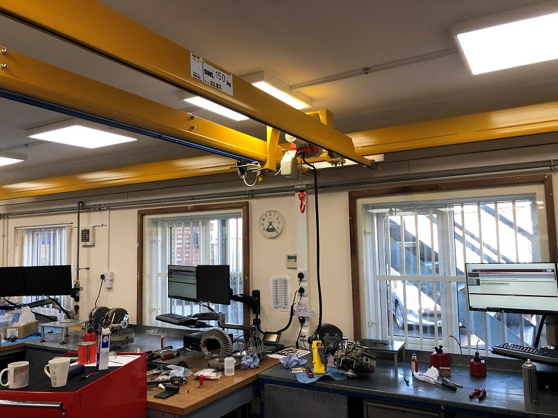 Light Crane System and Monorail Beam With Electric Hoist Installed in the U.K.